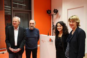 Die Referenten mit Gastgeberin Ulrike Bahr und Moderator Matthias Garte
