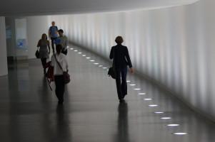 Zwischen zwei Terminen im Tunnel zwischen Reichstag und Paul-Löbe-Haus.