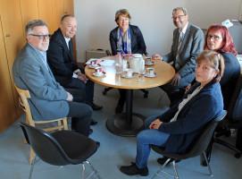Round-Table-Gespräch mit Michael Hahn, Stefan Leister, Ulrike Bahr, Manfred Wolf, Brigitte Dunkenberger und Petra Pfeiffer