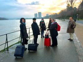 Die schwäbischen Delegierten in Bonn am Rhein. Von links: Annette Luckner, Gerhard Olbrich, Anna Rasehorn, Ulrike Bahr, Katharina Schrader und Karl-Heinz Brunner.